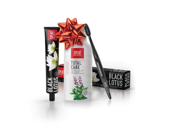Vánoční SPLAT Trio Black Lotus zubní pasta 75ml & Total Care ústní voda 275ml s kartáčkem