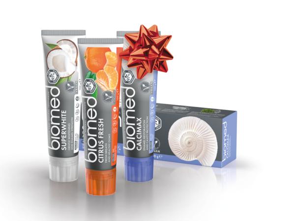 Vánoční Biomed Trio Superwhite & Citrus Fresh & Calcimax zubní pasty, 3x100g
